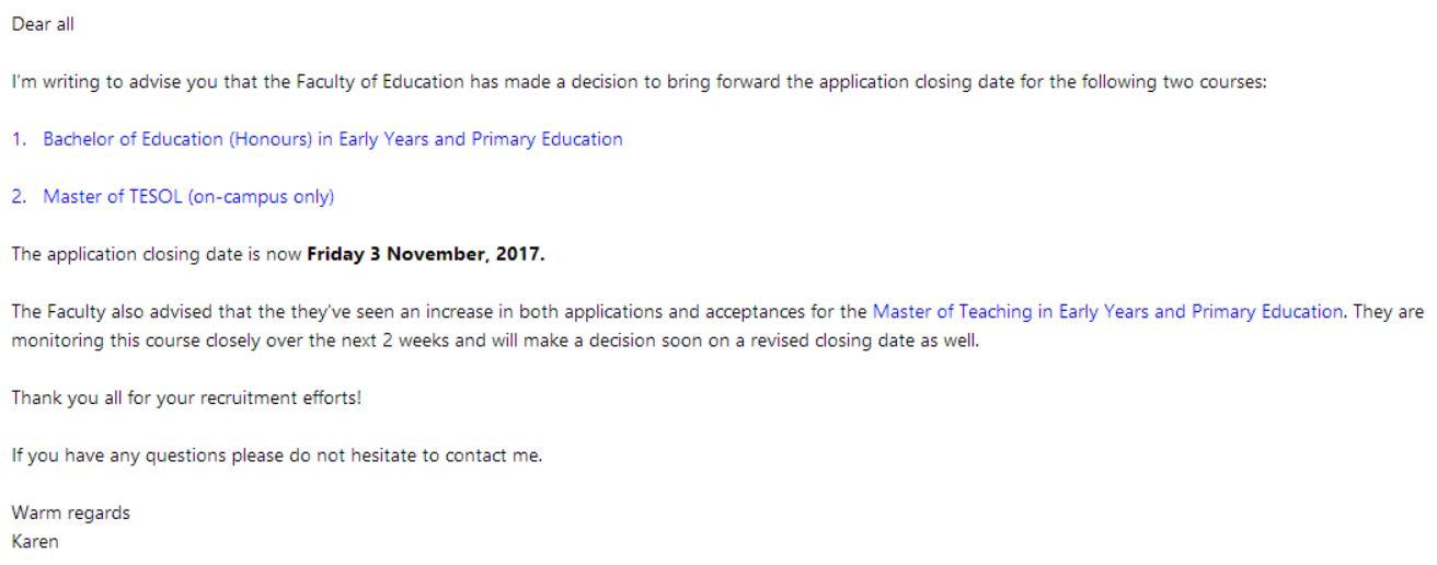 蒙纳士大学两门教育课程即将关闭申请