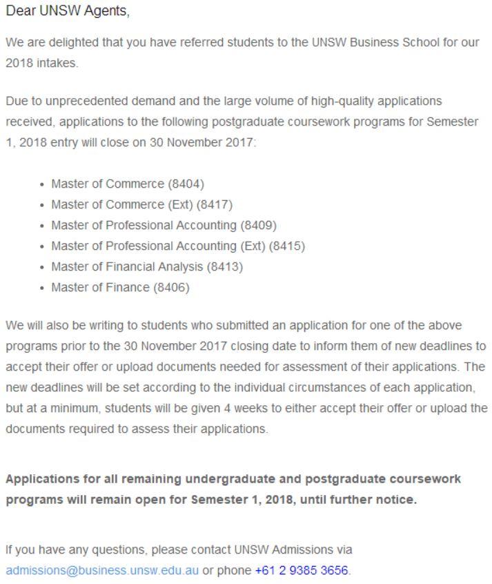 【通知】2018年UNSW商学院更改申请截止日期