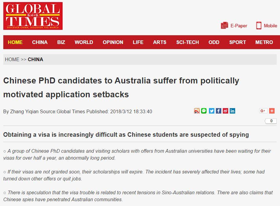 """中国学生去澳洲留学,却被澳大利亚怀疑是来当""""间谍""""!"""