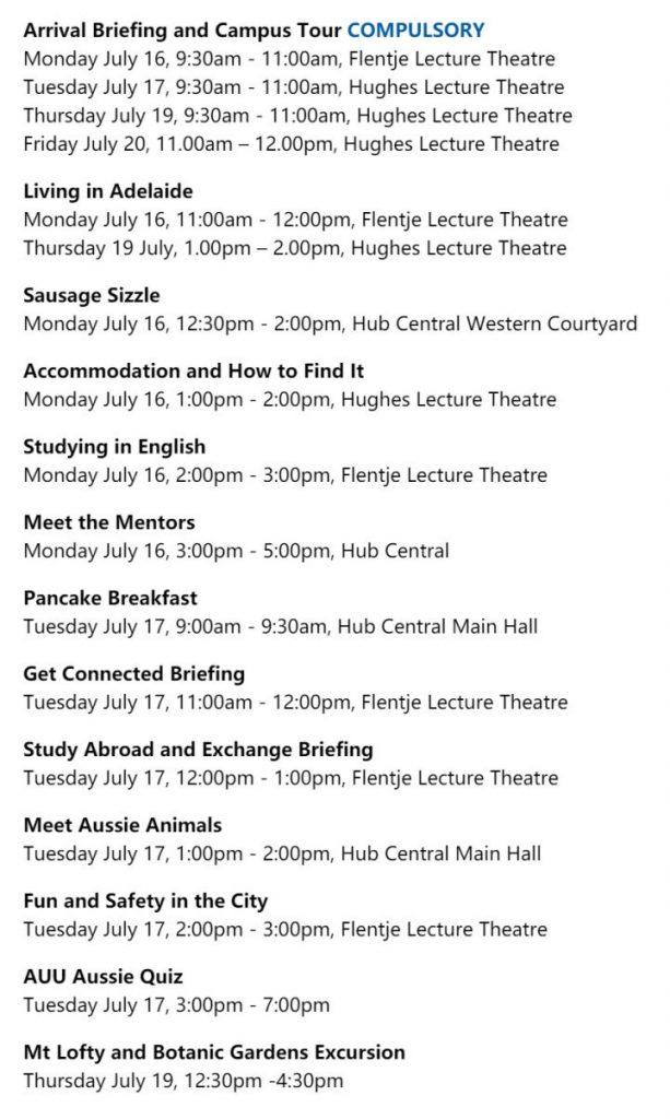 大学迎新周Orientation week | 阿德莱德大学