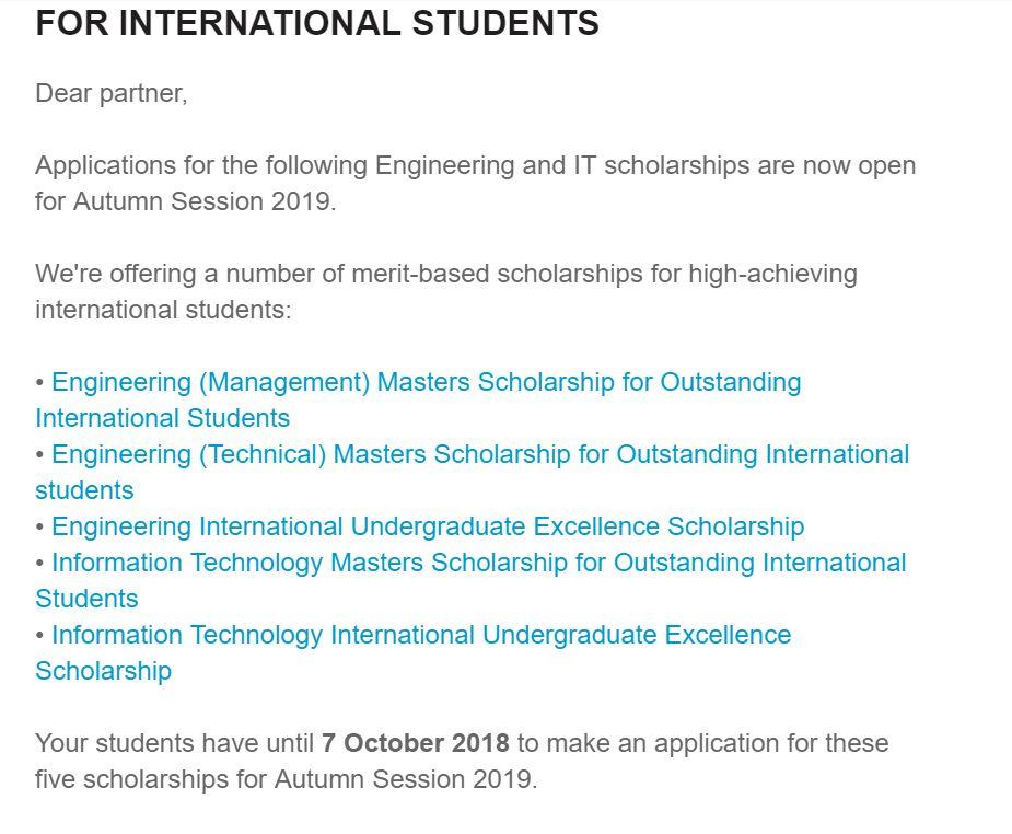 UTS工程及IT本科和硕士奖学金