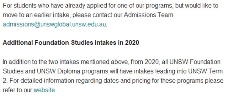新南威尔士大学预科开放新的开学时间!