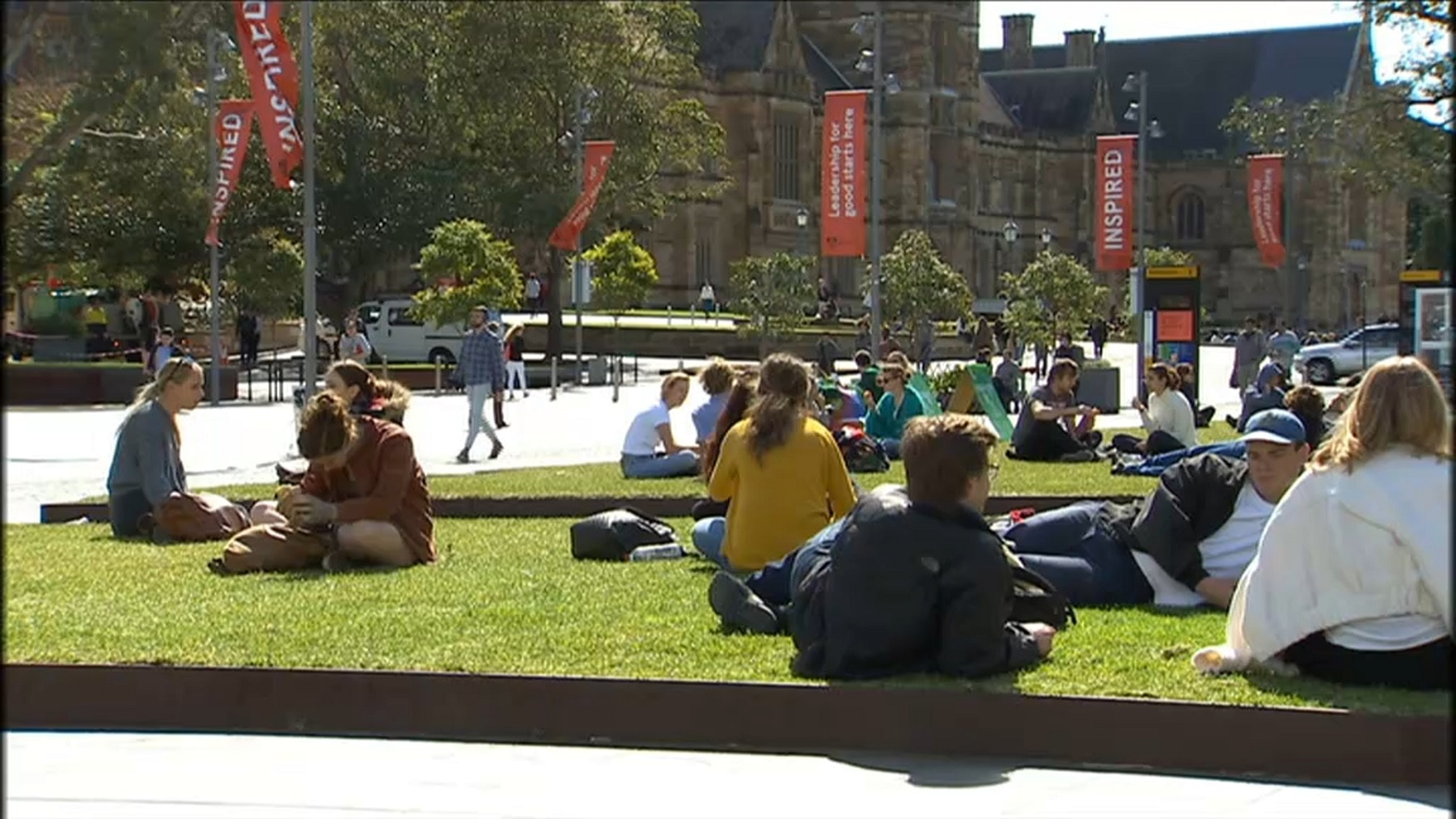 Students at the University of Sydney before the pandemic hit