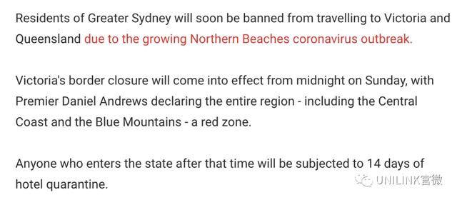 最新进展!悉尼感染群上升至70例。悉尼到墨尔本要酒店隔离14天!更多州开始旅行限制。