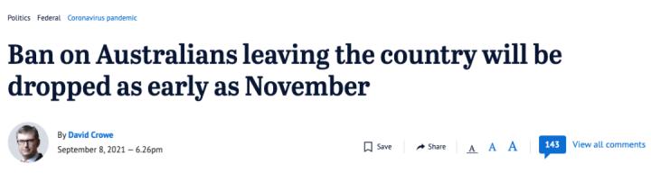 全澳沸腾!国际旅行禁令或11月取消,各大澳媒争相报道!疫苗护照即将发放,新加坡呼吁赶紧讨论两国互通