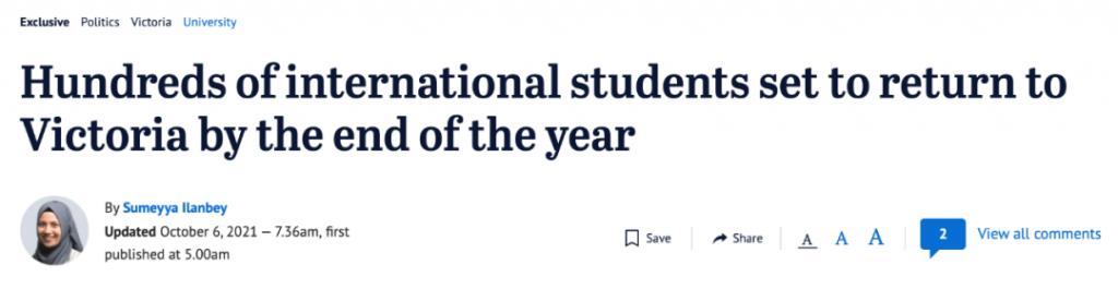 终于宣布!维州留学生可在年底前返澳!或不需要隔离