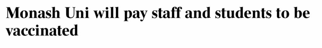 """澳洲大学给接种疫苗的学生发钱!墨尔本再次登顶世界第一,全球最""""宜家""""。"""